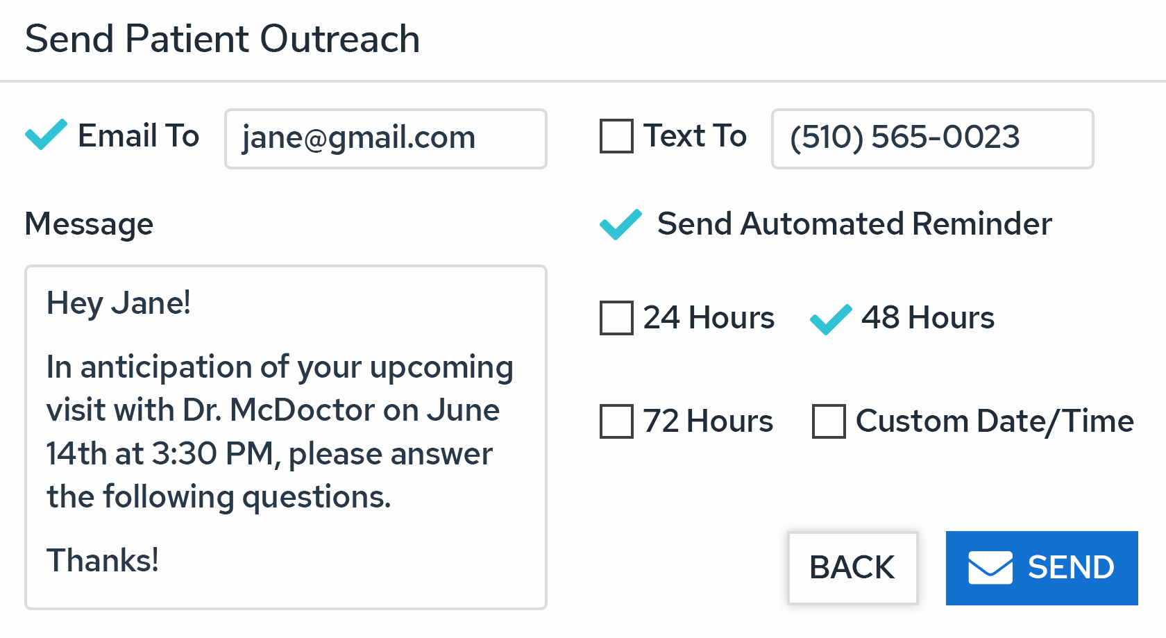 Patient Outreach Screenshot