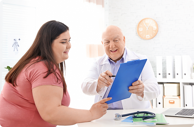 Provider reviewing nutrition plan with patient